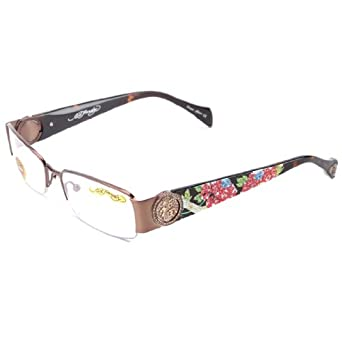 Amazon.com: Ed Hardy EHO-726 Women's Designer Eyeglasses - Shiny Brown