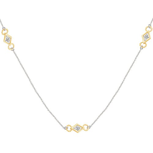 10k Two-Tone Gold Diamond Chain w/ Yellow Component Necklace (1/10 cttw, I-J Color, I3 Clarity), 18