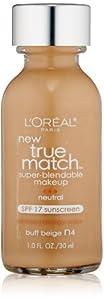 L'Oreal Paris True Match Super Blendable Makeup, Buff Beige, 1.0 Ounces