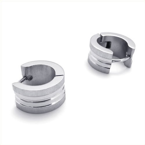 KONOV Jewelry Stainless Steel Men's Huggie Hinged Hoop Stud Earrings Set, 2pcs, Color Silver
