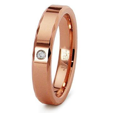 2nd Generation Rose Gold Tungsten CZ Ladies Wedding Band Ring