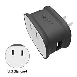 VOJO BONE, 2.1A Dual USB Wall Charger [Gray], 10W Portable Travel Adapter (with Foldable Plug & AC Outlet) for Apple iPhone SE / 6s / 6 / 6 Plus, iPad, Samsung Galaxy S7 / S6 Edge+, Note 5, LG G5