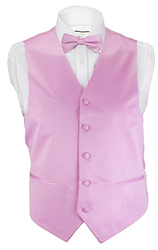 [Alberto Cardinali Men's Solid Color Vest V202 Large Pink] (Pink Man Suit)