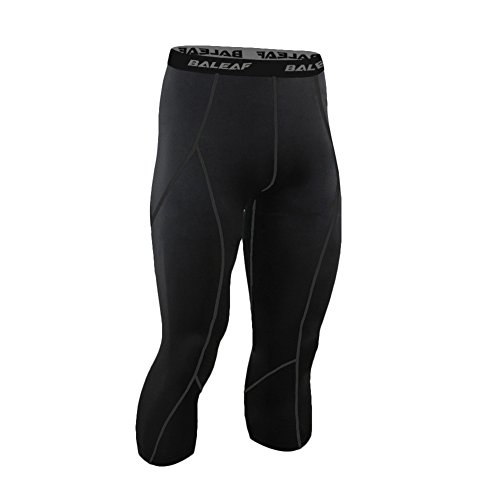 Baleaf Men's Cool Running Fitness Compression 3/4 Leggings Tights Black Size M