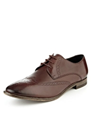 Autograph Leather Almond Toe Wingtip Brogue Shoes