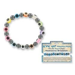 Evil Eye of Protection Hematite Stretch Bracelet (Sold Individually)