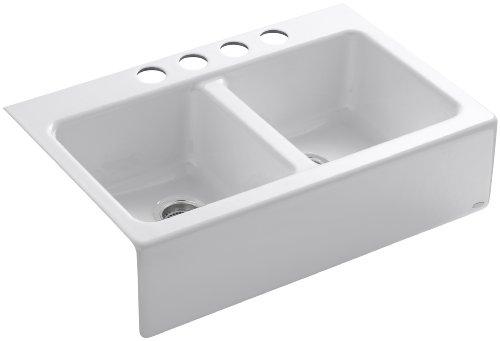 Kohler K-6534-4U-0 Hawthorne Apron-Front, Undercounter Kitchen Sink (White)