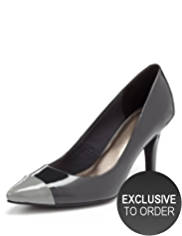 M&S Collection Pointed Toe Cap Patent Court Shoes with Insolia®