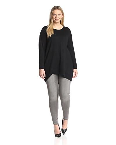Cashmere Addiction Plus Women's Long Sleeve Asymmetrical Tunic