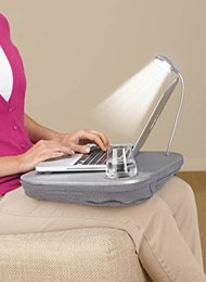 Laptop Desk with Built-In Cushion LED Light and Cup Holder