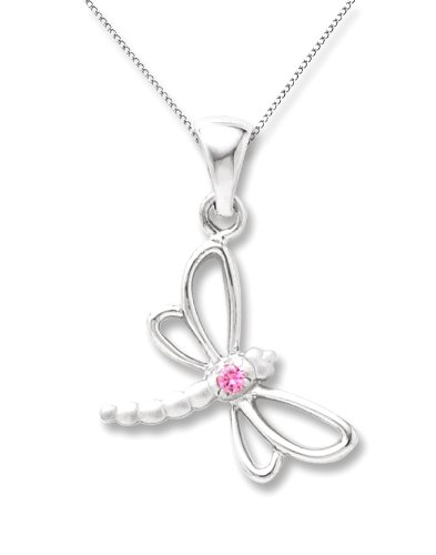 Sterling Silver Pink Sapphire Dragonfly Pendant Necklace