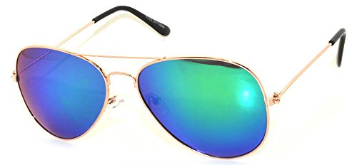 Classic Aviator Sunglasses Metal Frame Gold Full Mirror Blue-Green