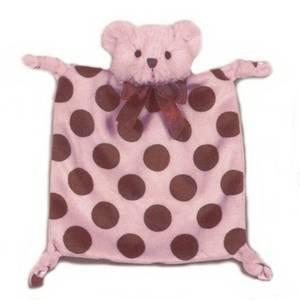 Bearington Baby Wee Dottie Pink Blankie - 1