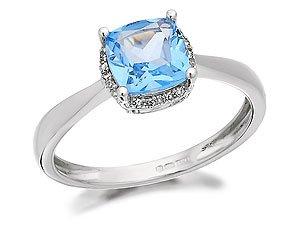 9ct White Gold Blue Topaz And Diamond Cluster Ring - J
