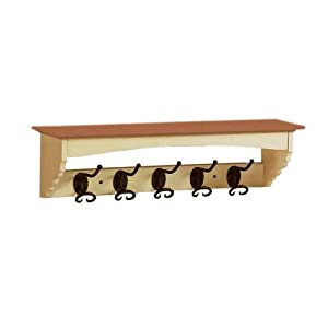 French Country Coat Rack, 5-HOOK, MAPLE ATQ CREAM