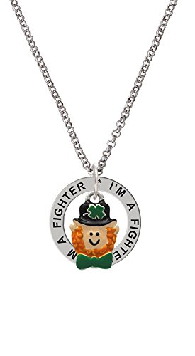 Small Leprechaun with Bow Tie I'm a Fighter Affirmation Ring Necklace