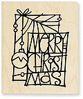 Christmas Glass Wood Mounted Rubber Stamp (V104)