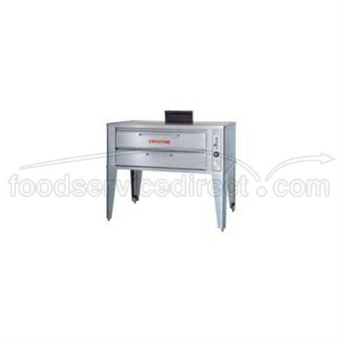 Large Gas Pizza Deck Oven - Two 961P Base Sections With 19 Inch Black Adjustable Legs, Stainless Steel Draft Diverter Or Draft Hood, Large Crown Angle Trim And Double Gas Connector -- 1 Each.