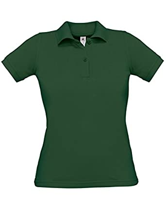 B And C Safran Pure Ladies' Short Sleeve Polo Bottle Green Xs