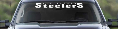 """Pittsburgh Steelers"" Windshield Banner Graphic Vinyl Decal 4"" x 36"" With FREE Bumper Sticker at Amazon.com"