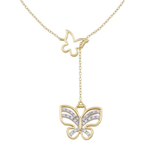 18k Yellow Gold Plated Sterling Silver Diamond Accent Butterfly Y Necklace, 17