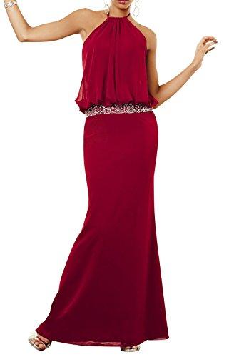 Dapene® Women Halter Beading Slim Fit Formal Dress Custom Size Wine