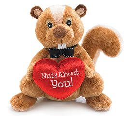 """Nuts About You"" Norman the Squirrel Plush Heart Brown"