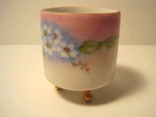 Antique Asian 'Footed' Porcelain Teacup/Libation Cup, Hand-Painted by W Kiger, 2 x 2 Inches (Libation Cup compare prices)