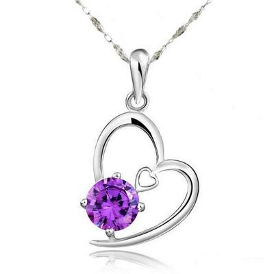 Rhodium Plated 925 Silver Amethyst Heart Shape Pendant Necklace with 18