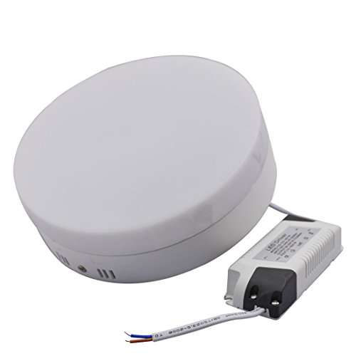 Grexistar Led Mount Downlight Round Shaped Surface Panel Ceiling Lights Kit White Housing (Cool White, Round-18W)