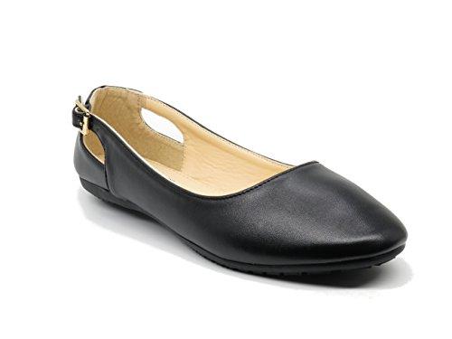 EASY21 Womens Ballet Shoe Open Side Buckle Comfort Slip On Flat Faux Leather