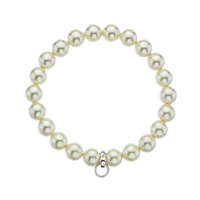 Hot Diamonds Cream Charm Carrier - Large; Made with Crystal Pearls from the Swarovski Elements Range