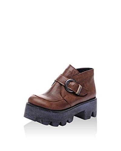 Bueno Botines Sandal Marrón
