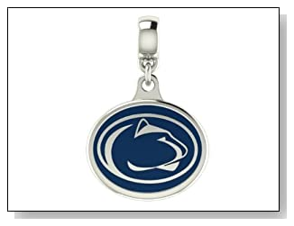 Penn State NITTANY LIONS Collegiate Drop Charm Fits Most European Style Bracelets Including Chamilia Kera Troll and More. High Quality Drop in Stock for Fast Shipping.
