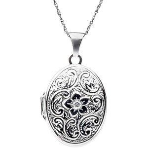 Genuine IceCarats Designer Jewelry Gift Sterling Silver Oval Lk W/Scroll & Flower Patt. 23.58X16.87 Oval Locket With Scroll Flower Pattern Oval Lk W/Scroll & Flower Patt In Sterling Silver
