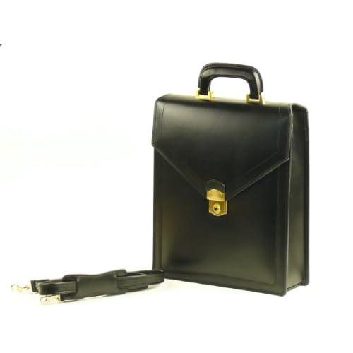 【日本製】 本革ボックスショルダーEG<スムース革>(黒) 縦型ショルダーバッグ A4ファイル収納 ツーウェイ仕様
