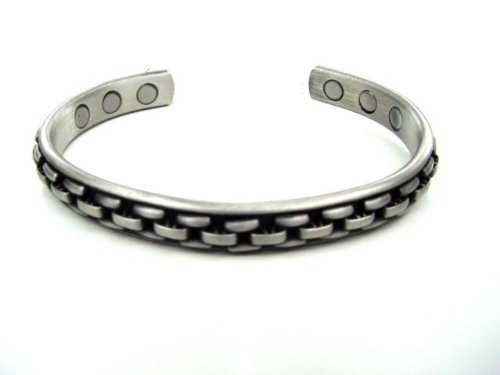 MAGNETIC SOLID COPPER PEWTER COLOUR CHUNKY BRACELET BANGLE UNISEX