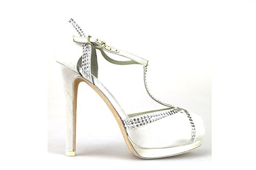 scarpe donna LUCIANO BARACHINI sandali bianco raso strass AH92 (38 EU)