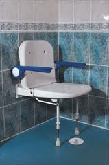 Shower Seat Wall Mounted With Back And Arms by Patterson Medical