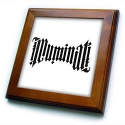 EvaDane – Signs – Illuminati Ambigram. – Framed Tiles – 8×8 Framed Tile