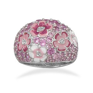 Plated Brass Pink Flower Fashion Ring / Size 8