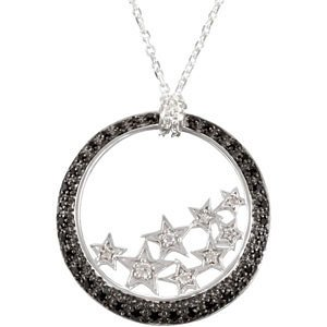 Genuine IceCarats Designer Jewelry Gift Sterling Silver Genuine Black Spinel And Diamond Necklace 18 Inch Genuine Black Spinel And Diamond Necklace In Sterling Silver