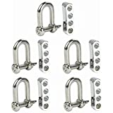 Cosmos ® 5 Set Silver Color Stainless Steel D Shackle + 4 Holes Adjuster for Survival Bracelets with Cosmos Fastening Strap