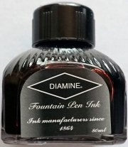 Diamine encre noir - 80 ml + flacon d'encre (bleu)