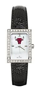 Chicago Bulls Ladies Allure Black Leather Strap Watch by Logo Art