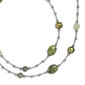 Southwest Spirit Sterling Silver Shades of Green Long Beaded Station Necklace - 36
