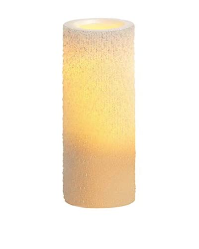 Candle Impressions Flameless Candle 8″ Iridescent Icicle Pillar, White