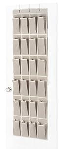 Whitmor 6082-13 Natural Linen Soft Storage Over-the-Door Shoe Organizer