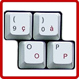 HQRP French AZERTY Keyboard Stickers with Red Lettering on Transparent Background for All Mac, PC Desktops & Laptops