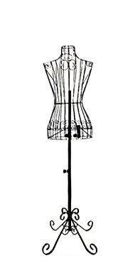 Female Black Steel Wire Mannequin Dress Form 322232 on Decorative Stand (0004 Black) (Color: Black)